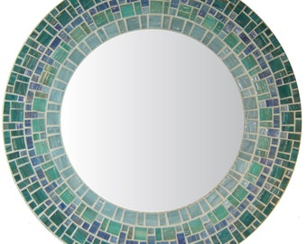 Custom Bathroom Mirror | Coastal Mosaic Mirror | Beachy Mirror | Beach House Mirror | Round Wall Mirror | Sea Green, Blue, Teal, & Gray