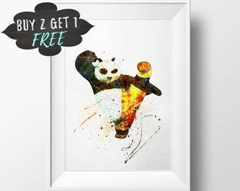Kung Fu Panda Printable Poster Wall Art Print, Po Panda Nursery Decor, Watercolor Instant Download, Printable Boys Nursery Room Decor