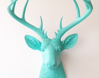 CARIBBEAN BLUE, XL Deer Head, Faux Taxidermy, Deer wall mount, Stag Head, Deer Head, Large Faux Taxidermy, Faux Deer Head, Faux Stag Head