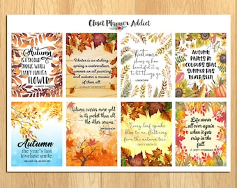 Motivational & Inspirational Quotes Planner Stickers | Autumn Stickers | Fall Stickers | Autumn Quotes | Fall Quotes (MS-024)