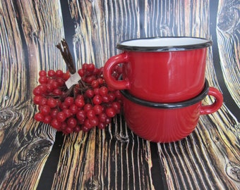 Red Enamel Mugs set 2 pcs small drinkware gardener gifts cups outdoor 150ml