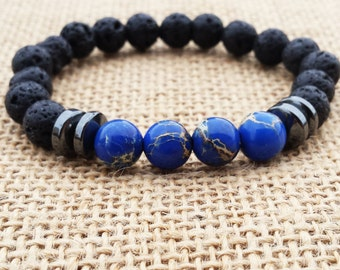 Men Bracelet Navy Blue Sea Sediment Jasper Men Jewelry Japa Mala Buddhist Bracelet Men Yoga Beaded Bracelet  Gifts For Him