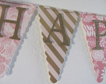 Blush and Gold Banner, Glitter Gold Happy Birthday Banner, Birthday Banner, Happy 1st Birthday Banner, Birthday Decorations