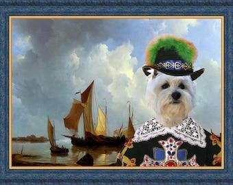 West Highland White Terrier Art Westie Dog Print Westie Painting Westie Gift Westie Lover Custom Dog Portrait  Dog Art Canvas