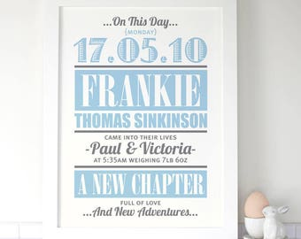 Personalised Baby Birth/Announcement Print