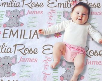 Elephant Baby Gift - Elephant Baby Blanket - Elephant Baby Bedding - Elephant Baby Shower Girl - Baby Name Blanket - Baby Girl Gift Idea