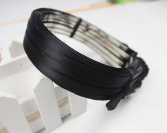 10pieces black satin metal hair headband covered 5mm wide