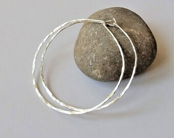 Sterling Silver Thin Hoop Earrings, Large Lightweight Hoop Earrings, Minimalist Earrings, Sterling Silver Hoop Earrings, Silver Hoops.
