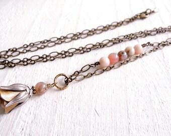 Boho Pink Opal Pendant Brass Silver Long Pendant Necklace Rose Flower Pendant Romantic Style Necklace Semiprecious Natural Peruvian Opals