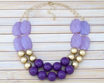 Blackberry Purple Chunky Statement Necklace, Multi Row Layered Necklace, Fashion Necklace, Large Bold Beaded Necklace, Purple Bib Necklace
