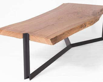 One of a Kind Oak Wood Coffee Table on Steel Base // Handmade and Industrial // Studio Cerise - Contemporary and Luxury Furniture