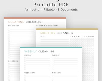 Cleaning Kit (8 documents) - Fillable - Printable PDF - Household Binder, Clean Home Kit, Cleaning Checklist Bundle - Instant Download