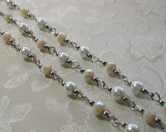 """One Meter 39.5"""" Faceted Ivory Cream Rondelle and White Pearl Glass 6mm Beaded Rosary Chain Antique Silver 979-06"""