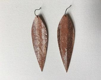 Metallic Leather Long Statement Earrings