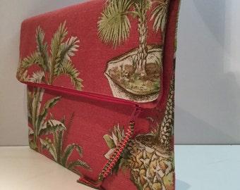 Palm trees print CLUTCH / Foldover clutch, upholstery fabric clutch envelope clutch, zipper clutch, fabric clutch purse, casual clutch, OOAK