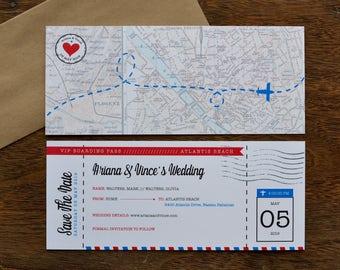 DIY - Save The Date - Airline Ticket - Travel Theme Wedding - World Travel Theme - Destination Wedding - Personalized - Digital File