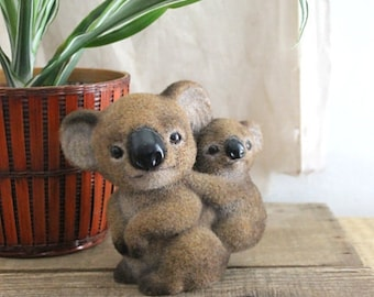Vintage Flocked Koala Mom And Baby Figurine