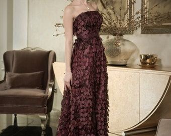 Classy evening gown with leafs, Dark purple mother of the bride dress for women, Purple evening dress with leafs, Romantic womens dresses