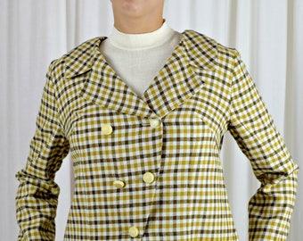 Short Jacket, Swing Jacket, Plaid Jacket, Mandi California, Vintage Jacket, Office Jacket, Work Jacket, 1950s Clothing, Mid Century Clothing