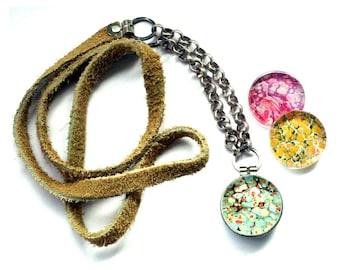 Marble Necklace - Suede and Glass Locket Necklace, Multiple Magnetic Lids Bib Style Jewelry Pink Yellow and Blue Glass Recycled by Polarity