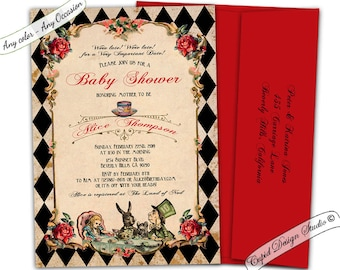 Alice in wonderland baby shower invitations. Mad hatter baby shower invite. Queen of hearts invitation. Wonderland baby shower invites.