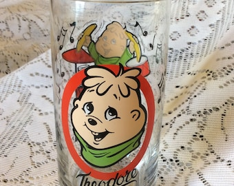Vintage 1985 The Chipmunks Theodore cartoon character collectible drinking glass