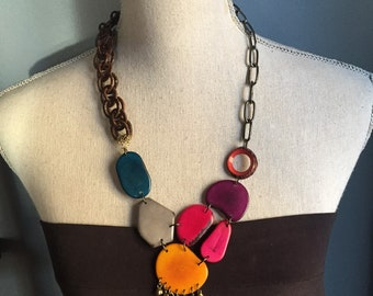Ecofriendly tagua nut mixed media bib necklace