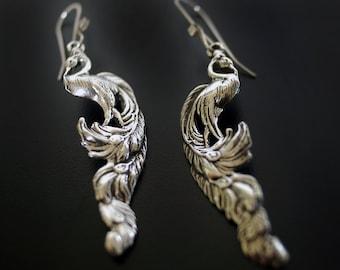 Vintage Inspired Peacock Sterling Earrings