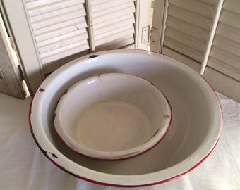 Darling Duo of 2 Vintage Enamelware Bowls Shabby Cottage