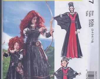 McCall's M6817 Girls OR Misses Brave Princess Merida Maleficent RenFaire Costume UNCUT Sewing Pattern