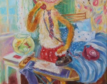 Original oil painting/funny pets/cat portraits/whimsical orange cat talking on the phone/pets as people