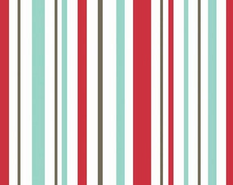 Primrose Garden by Carina Gardner in Red Stripe  - 1 yard -  by Riley Blake Designs.
