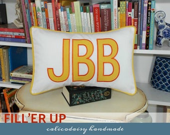 FILL'ER UP Large Applique Monogram Pillow Cover - 12 x 18