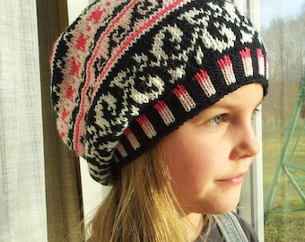 Handknit Slouchy hat, Beanie, Knit beanie, Fair Isle hat  for Girls, YTeens, Women, Warm and Colorful black, pink, white