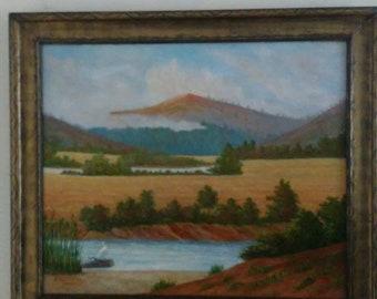 "Original Oil Painting by Carl Lorenz 1922 - Landscape Oil Painting - Oil Painting ""Cornfields of the Leitzach Valley"", by Carl Lorenz"