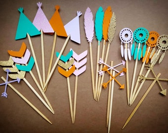 Tribal Cupcake Toppers / 12 Count / Custom Colors You Choose / Tribal Party Decorations / Boho Party Decorations / Wild One Cupcake Toppers