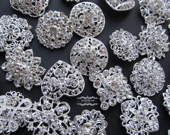 20 Rhinestone Brooch Lot Silver Pin Mixed Wholesale Crystal Wedding Bouquet Brooch Bridal Button Embellishment Hair Cake Shoe Napkin DIY Kit