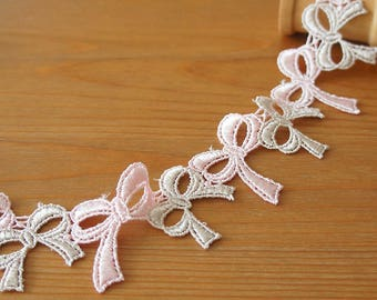 "Duo Color Bow Lace Ribbon 35mm/ 1.38"" Beige and Pink Cute Girly Doll Dress Embellishment Trim Scrapbook Sewing Knit Craft DIY"