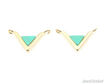 2pcs - Turquoise Triangle Pendant in Gold - Turquoise Charm / 20mm x 11mm / STQG089-P