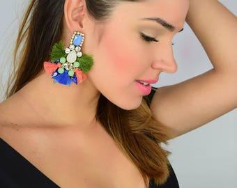 Boho Threader Earrings, Summer Earrings, Tassel Earrings, Multicolor Earrings,Colorful Earrings,Bridal Earrings, Rhinestone Earrings, Tassel