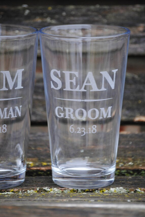 Personalized Pint Glasses. Wedding, Groomsmen Gift, Dad. Laser Engraved Beer Pilsner Glass. Party Favor, Wedding Favor, Custom