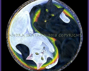 Black Cat White Cat Yin Yang Print