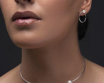 Open choker necklace, pearl necklace, bridal necklace, wedding necklace, sterling silver choker necklace, minimalist necklace chocker