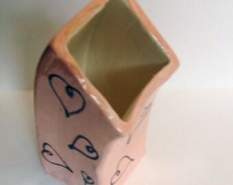 Pink Heart Swoop Vase
