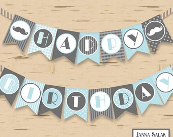 Little Man Happy Birthday Banner Mustache Party DIY Printable INSTANT DOWNLOAD LMB01