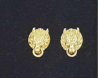 Final Fantasy 7 Cloud Strife Wolf Stud Earrings in Gold Made to Order