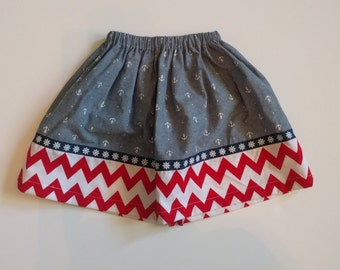 Girl's Twirl Skirt - Anchors - Red Chevron - Modest Toddler Skirt - Modest Girls Skirt