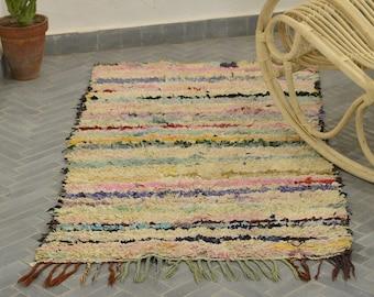 Vintage Moroccan Boucherouite Rug,Handwoven Rug,Bohemian Rug,RefBo316
