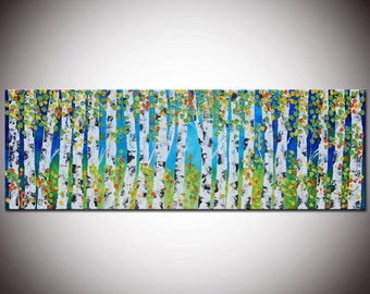 Original Modern Abstract Textured Impasto Large Forest Painting 72x24 - Ready to hang - by Helen - Made To Order