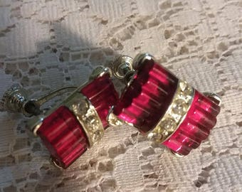 Art Deco Earrings, Glass Earrings, Screwback Earrings, Vintage Earrings